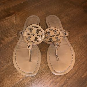 Tan tory burch flip flops